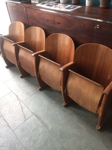Original row of chairs from a cinema