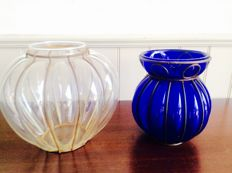 A pair of hand-blown Venetian vases
