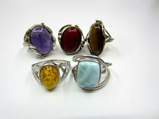 Lot of 5 pcs  rings with gemstones