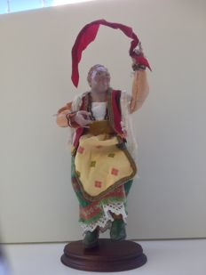 Shepherd figurine from a Nativity set - a woman of the people dancing the tarantella - Italy - circa 1860