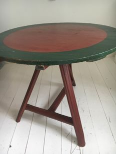 Oak folding table with original painting from Staphorst, the Netherlands - 1st half 19th century