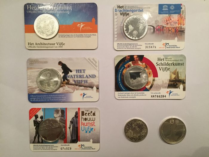 The Netherlands - 5 Euro coins 2008/2012, Commemorative coin in coin card (5 pieces) and 5 and 10 Euro coins 2002 and 2012