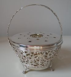 Silver brazier with flower garlands, D. Zwijnenburg, Schoonhoven, 20th century