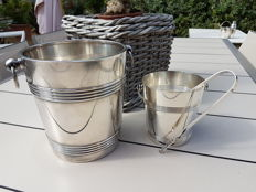 "Heavy ""Luc Lanel"" champagne bucket, ice bucket, and ice tongs, from Christofle"