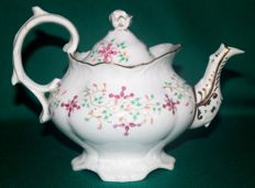 "Samuel Alcoock - antique teapot ""RED FLOWERS"" 1830-35"