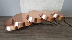lot of 5 massive copper tinned pans.