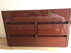 Chest of drawers 6 drawers, burgundy lacquer paint