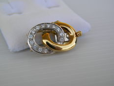 Clasp for women's necklace or bracelet - gold and 0.26 ct diamonds.