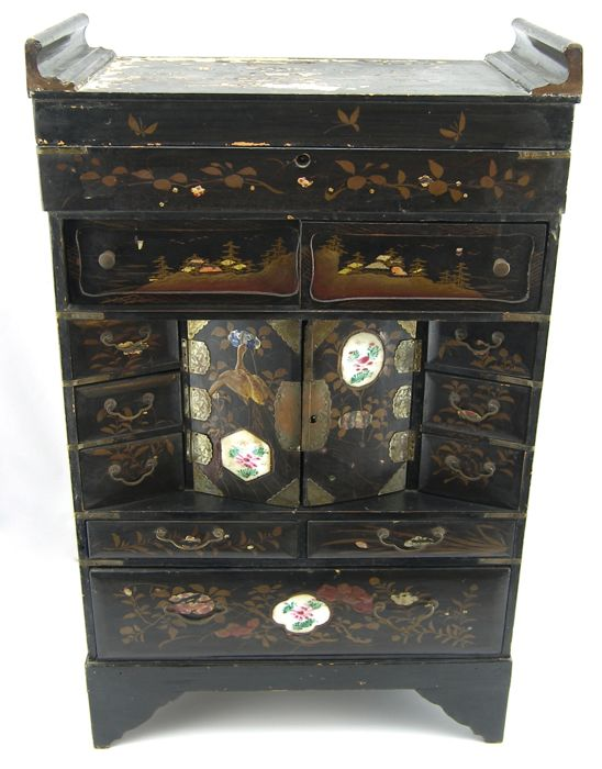 Antique lacquered coin cabinet - Japan - Late 19 th century