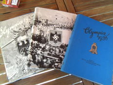 3 Collection picture albums Olympia 1936 Volumes 1 + 2 in Berlin and Garmisch-Partenkirchen + Olympia in 1932 in Los Angeles