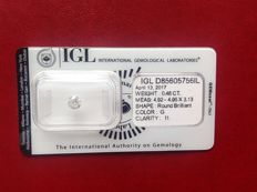 Brilliant cut diamond weighing 0.48 ct, colour G, clarity I1, sealed with certificate.