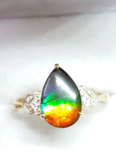 7 million year old Natural Canadian AA Polished Ammolite & white zircon ring - 12 x 8 mm