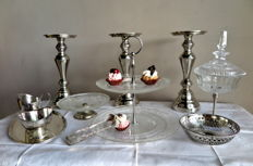 12-lot crystals and silver plate/silver plated accessories for on the party table