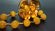 Vintage Amber necklace and  Amber Brooch set in gilded brass metal, genuine Baltic Amber from USSR, 29,5 grams