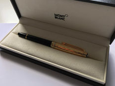 Montblanc Meisterstuck Solitaire Doue 164DS Vermeil / Pinstripe Sterling Silver [stamped AG .925] full Gold plated cap ballpoint pen