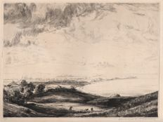 Seascape with fieldworkers - Limited edition landscape etching ca. 1900