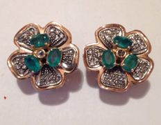 Gold, emerald and diamond earrings