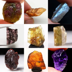 Lot of Ruby, Sunstone, Labradorite, Tourmaline, Sinhalite, Clinozoisite, Amber and Amethyst - 82.556 ct (9)