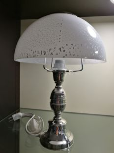 Tabletop lamp with base in silver, made in Italy (Florence), 1990s