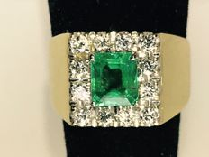 Emerald and diamonds 18k gold ring size 54
