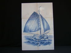 Skutsjessilen six-tile panel - Friesland Netherlands - signed with initials D.R. - 2nd half of the 20th century