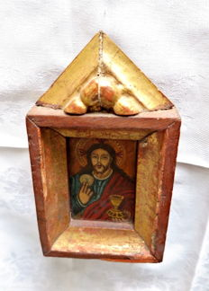 Antique Russian icon - oil on panel in gilded temple-shaped wooden frame - 2nd half of 19th century