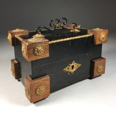 Black wooden jewellery box with gold-plated fittings - France - c. 1900