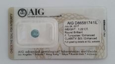 1.22ct ROUND  CUT DIAMOND  FANCY TURQUOISE   SI3  AIG -No Reserve