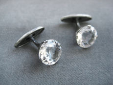 Silver & Natural Rock Crystal Cufflinks 1950s