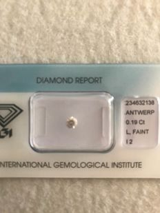 Natural diamond, 0.19 ct, L, I2