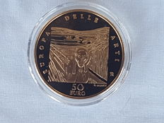Italy - 50 Euro 2007 'Europa delle Arti' (Europe of Arts) - Norway (E. Munch) - gold