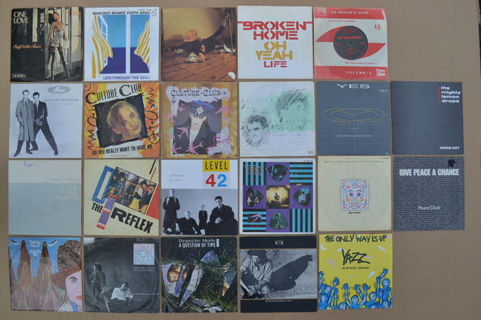 """nice lot of 22 hit singles famous by  """"Sky Channel & MTV""""  from the 80's U.K. new wave and cult-bands/artists"""