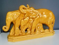 L Fontinelle - Art Deco earthenware sculpture - Elephants Group