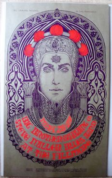 "Janis Joplin Big Brother & the Holding Company San Francisco poster ""The Prince"" by Bonnie Mc Lean 1967"