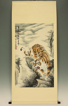 Handpainted scrollpainting ' Roaring Tiger '  - China  -  late 20th century