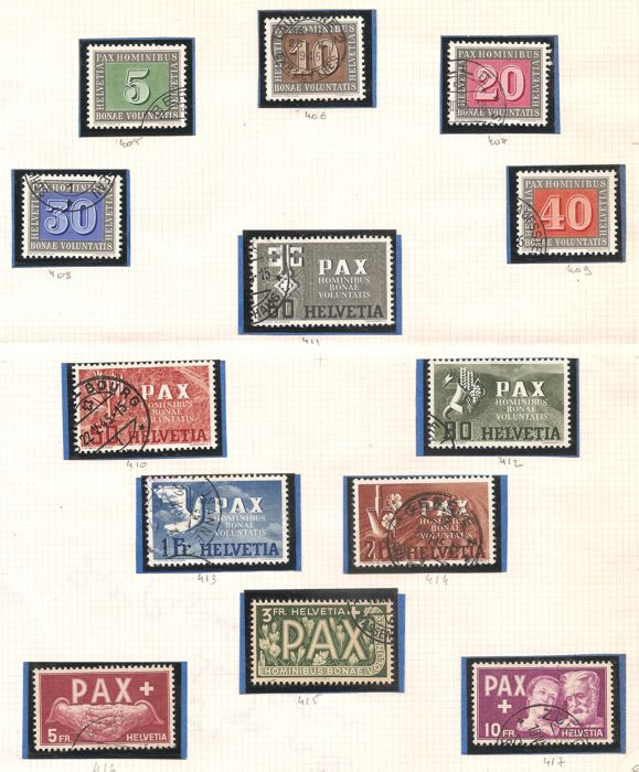 Switzerland 1932/1945 - commemorative editions for the armistice in Europe, PAX set and demilitarisation conference set.