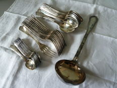 Cutlery set, marked SFAM and hallmarked 84