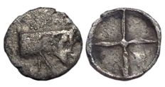 The Greek Antiquity - Sicily, Gela (ca. 480-470 BC) - AR Obol (9mm; 0,36g.) - Man-headed bull / Wheel -  SNG ANS 42-44; Jenkins 190 - Rare