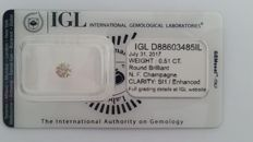 0.51ct ROUND  CUT  IGL FANCY CHAMPAGNE SI1  Diamond -NO RESERVE