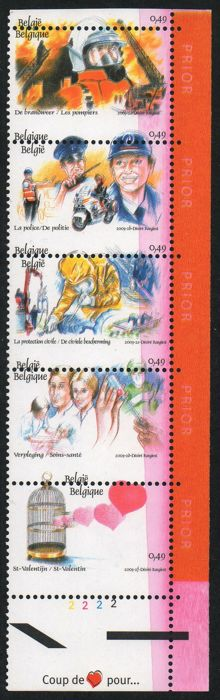 Belgium 2003 - 'Un coeur pour...' (A heart for...) strip in five varieties with perforation error and printing flaws - COB 3150-3155.