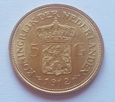 Netherlands - 5 gulden 1912 Wilhelmina - gold