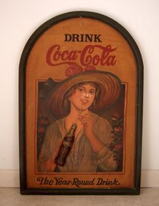 Vintage large wooden Coca Cola large sign - The Year Round Drink