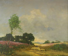 Toon van Ooyen (1885-1954) - Heathland landscape with shepherd and flock