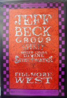 Jeff Beck / Spirit  Fillmore West Poster San Francisco 1968 by Lee Conklin