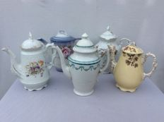 5 porcelain coffee pots Limoges/silesia/Brussels porcelain/vlotoria