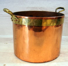 Antique red and yellow copper pan, around beginning of 1800