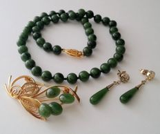 Vintage gold plated Nephrite set:  necklace, earrings and a brooch, from the 1970's