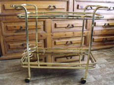 Vintage serving trolley & 24 k gold plated tray