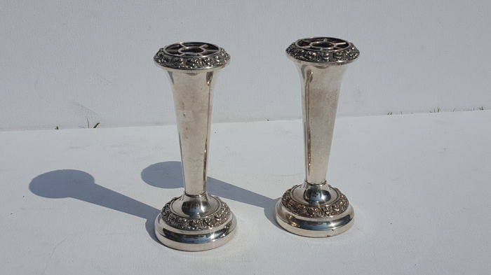 Silver plated by Lanthe England vintage set of two rose candles