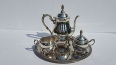 Sheffield - Silver plated tea/coffe set on a serving tray -England